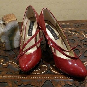 Steven Red Patton Leather Double-strap Mary Janes